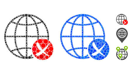 Stop global web composition of filled circles in variable sizes and color tones, based on stop global web icon. Vector small circles are combined into blue illustration.