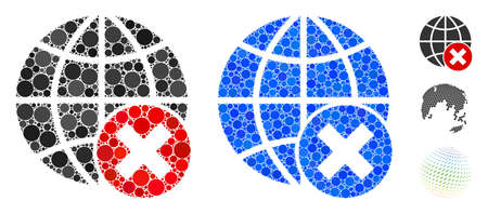 Stop globalization mosaic of circle elements in various sizes and color tints, based on stop globalization icon. Vector circle elements are composed into blue collage. Иллюстрация