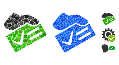 Vote yes mosaic of spheric dots in different sizes and color hues, based on vote yes icon. Vector dots are united into blue mosaic. Dotted vote yes icon in usual and blue versions. Иллюстрация