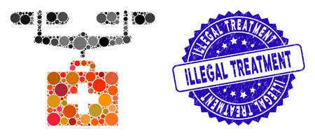 Mosaic drug drone delivery icon and rubber stamp seal with Illegal Treatment caption. Mosaic vector is created from drug drone delivery icon and with scattered round spots.