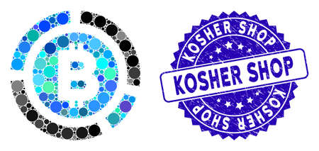 Mosaic Bitcoin diagram icon and rubber stamp seal with Kosher Shop phrase. Mosaic vector is created from Bitcoin diagram icon and with scattered round elements. Kosher Shop stamp seal uses blue color, Illustration