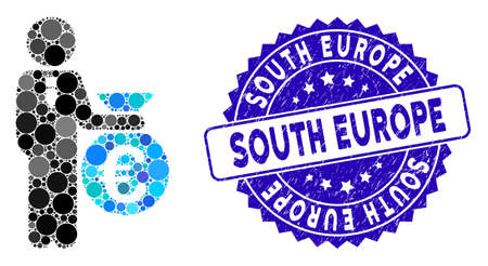 Collage Euro banker icon and rubber stamp seal with South Europe phrase. Mosaic vector is formed with Euro banker icon and with random circle elements. South Europe seal uses blue color,