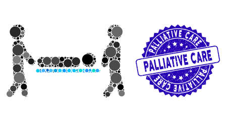 Mosaic patient transportation icon and distressed stamp seal with Palliative Care phrase. Mosaic vector is designed with patient transportation icon and with scattered spheric spots.