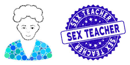 Mosaic blonde boy icon and grunge stamp seal with Sex Teacher phrase. Mosaic vector is composed with blonde boy icon and with random circle items. Sex Teacher stamp seal uses blue color, Ilustrace