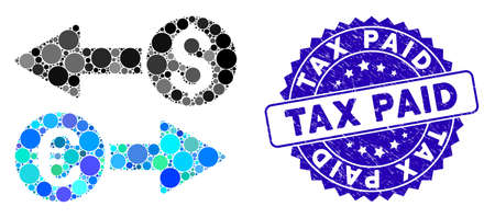 Mosaic currency transfers icon and corroded stamp seal with Tax Paid caption. Mosaic vector is composed with currency transfers icon and with random round items. Tax Paid seal uses blue color,