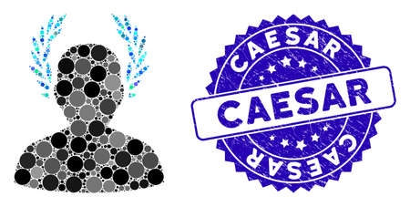 Mosaic caesar icon and distressed stamp watermark with Caesar phrase. Mosaic vector is composed from caesar icon and with randomized circle items. Caesar stamp seal uses blue color,