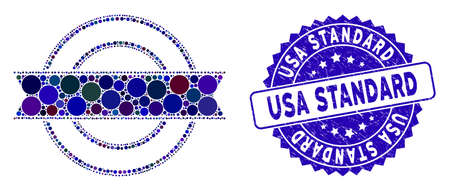 Mosaic ribbon circle frame icon and distressed stamp watermark with USA Standard caption. Mosaic vector is composed with ribbon circle frame pictogram and with randomized spheric items.