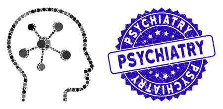Mosaic head brain icon and grunge stamp seal with Psychiatry caption. Mosaic vector is created with head brain pictogram and with randomized circle elements. Psychiatry stamp seal uses blue color, Çizim