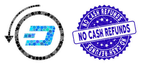 Mosaic Dash revert payment icon and grunge stamp seal with No Cash Refunds caption. Mosaic vector is designed from Dash revert payment icon and with scattered circle elements. Ilustração