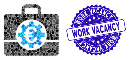 Mosaic Euro bank case icon and distressed stamp seal with Work Vacancy phrase. Mosaic vector is created from Euro bank case icon and with randomized circle elements.