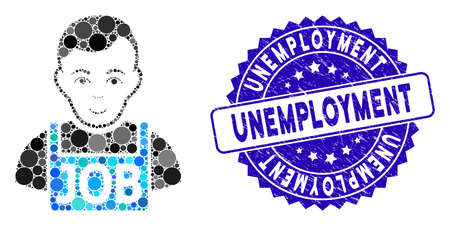 Mosaic jobless icon and corroded stamp watermark with Unemployment caption. Mosaic vector is designed with jobless icon and with scattered spheric items. Unemployment stamp uses blue color, Ilustracja