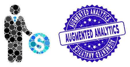 Mosaic banker icon and distressed stamp seal with Augmented Analytics text. Mosaic vector is composed with banker icon and with scattered round spots. Augmented Analytics stamp uses blue color,