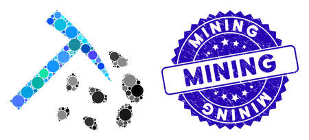 Mosaic stone mining hammer icon and distressed stamp seal with Mining phrase. Mosaic vector is composed with stone mining hammer icon and with randomized circle items.
