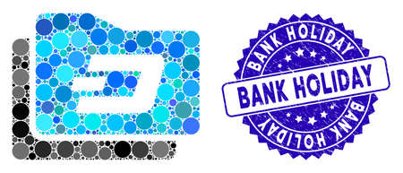 Mosaic Dash purse icon and corroded stamp seal with Bank Holiday phrase. Mosaic vector is designed with Dash purse icon and with randomized round spots. Bank Holiday stamp seal uses blue color,