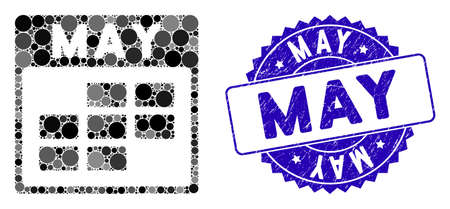 Mosaic May calendar grid icon and corroded stamp seal with May caption. Mosaic vector is formed with May calendar grid icon and with randomized circle elements. May stamp seal uses blue color,