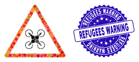 Mosaic copter danger icon and rubber stamp seal with Refugees Warning text. Mosaic vector is composed with copter danger icon and with random circle spots. Refugees Warning stamp seal uses blue color,