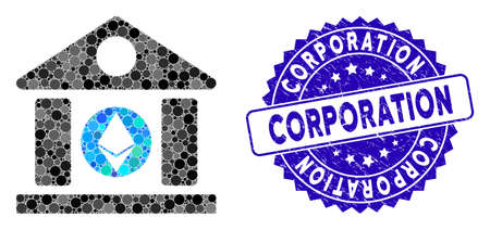 Mosaic Ethereum corporation building icon and grunge stamp watermark with Corporation caption. Mosaic vector is designed with Ethereum corporation building pictogram and with random round spots. Illustration