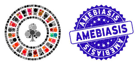 Mosaic casino roulette icon and grunge stamp watermark with Amebiasis text. Mosaic vector is composed from casino roulette icon and with randomized circle elements. Amebiasis stamp uses blue color,
