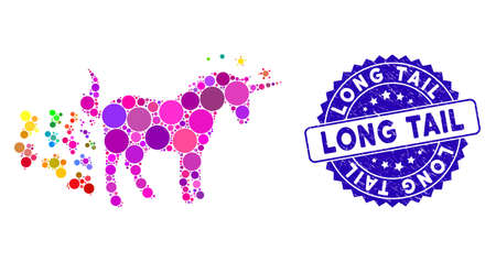 Mosaic unicorn farting butterflies icon and grunge stamp seal with Long Tail caption. Mosaic vector is designed with unicorn farting butterflies icon and with scattered circle items. Stock Vector - 137403037
