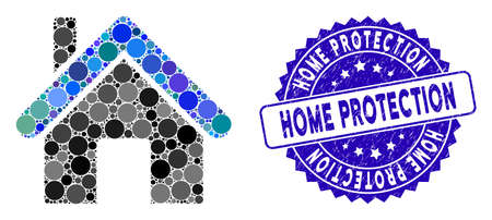 Mosaic home icon and rubber stamp seal with Home Protection text. Mosaic vector is created with home icon and with random circle items. Home Protection stamp seal uses blue color, and grunged texture. 矢量图像