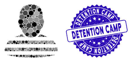 Collage prisoner person icon and rubber stamp seal with Detention Camp phrase. Mosaic vector is composed with prisoner person icon and with scattered circle items.