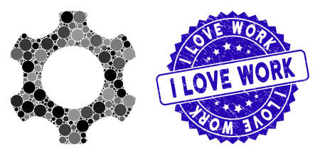 Collage gear icon and rubber stamp seal with I Love Work phrase. Mosaic vector is created with gear icon and with randomized circle elements. I Love Work stamp seal uses blue color, and dirty texture.