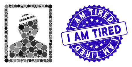 Mosaic patient photo icon and rubber stamp seal with I Am Tired text. Mosaic vector is composed with patient photo icon and with scattered spheric items. I Am Tired seal uses blue color, Ilustração