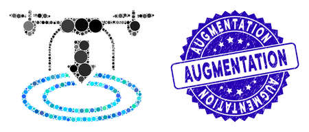 Mosaic drone landing icon and rubber stamp seal with Augmentation caption. Mosaic vector is composed with drone landing icon and with randomized spheric spots. Augmentation stamp seal uses blue color, Иллюстрация