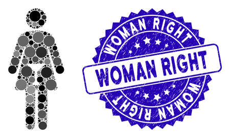 Mosaic woman icon and corroded stamp watermark with Woman Right phrase. Mosaic vector is formed with woman icon and with randomized circle items. Woman Right stamp uses blue color,