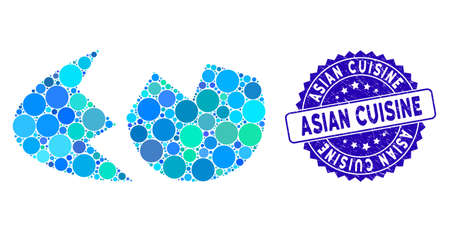 Mosaic eggshell icon and rubber stamp seal with Asian Cuisine text. Mosaic vector is designed with eggshell icon and with scattered circle elements. Asian Cuisine stamp uses blue color,