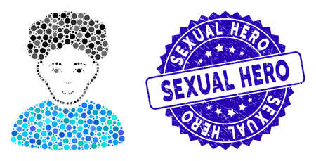 Mosaic brunet man icon and corroded stamp watermark with Sexual Hero phrase. Mosaic vector is composed with brunet man icon and with scattered circle spots. Sexual Hero stamp uses blue color,