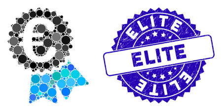 Mosaic Euro featured price tag icon and rubber stamp seal with Elite caption. Mosaic vector is created with Euro featured price tag icon and with randomized round elements. Elite seal uses blue color,