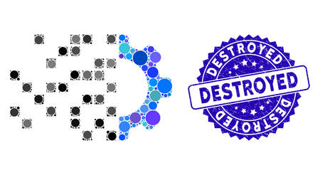 Collage gear synthesis icon and rubber stamp seal with Destroyed phrase. Mosaic vector is created with gear synthesis icon and with random circle spots. Destroyed stamp seal uses blue color,