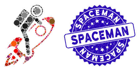 Mosaic spaceman icon and rubber stamp watermark with Spaceman caption. Mosaic vector is designed with spaceman icon and with random round items. Spaceman stamp seal uses blue color, Illustration