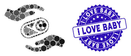 Mosaic newborn care hands icon and corroded stamp seal with I Love Baby text. Mosaic vector is created with newborn care hands icon and with scattered circle items.