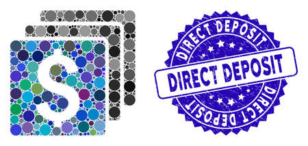 Mosaic finances icon and distressed stamp seal with Direct Deposit caption. Mosaic vector is formed with finances icon and with random round spots. Direct Deposit stamp seal uses blue color, Vektorové ilustrace
