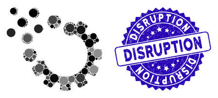 Mosaic gear disruption icon and corroded stamp watermark with Disruption phrase. Mosaic vector is created with gear disruption icon and with random circle spots. Disruption stamp seal uses blue color,