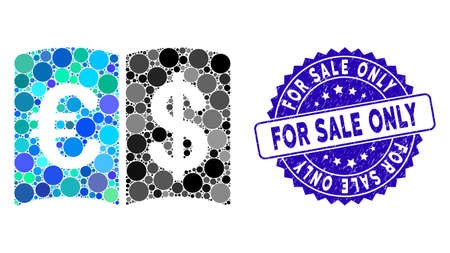Mosaic international catalog icon and rubber stamp seal with For Sale Only phrase. Mosaic vector is designed from international catalog icon and with randomized round spots.