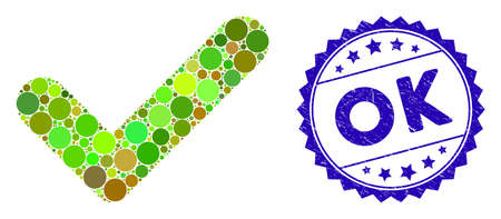 Mosaic OK icon and rubber stamp watermark with OK text. Mosaic vector is created with OK icon and with randomized round spots. OK stamp uses blue color, and grunged design.