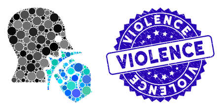 Mosaic face violence strike icon and distressed stamp seal with Violence text. Mosaic vector is designed with face violence strike icon and with random spheric elements. Violence seal uses blue color,  イラスト・ベクター素材
