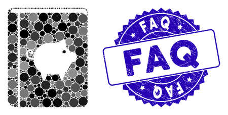 Collage pig handbook icon and rubber stamp watermark with FAQ caption. Mosaic vector is composed with pig handbook icon and with randomized circle items. FAQ stamp seal uses blue color,