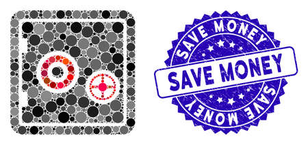 Mosaic bank safe icon and distressed stamp seal with Save Money text. Mosaic vector is formed from bank safe icon and with randomized spheric spots. Save Money stamp seal uses blue color, Ilustração