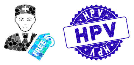 Mosaic free doctor icon and distressed stamp seal with Hpv text. Mosaic vector is composed with free doctor pictogram and with scattered circle elements. Hpv stamp seal uses blue color,