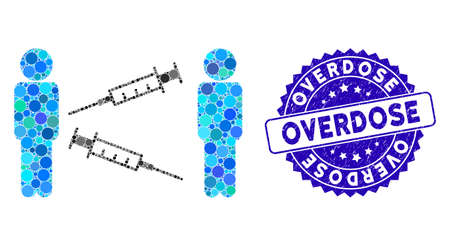 Mosaic men syringe exchange icon and rubber stamp seal with Overdose phrase. Mosaic vector is created from men syringe exchange icon and with scattered round items.