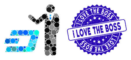 Mosaic businessman show Dash icon and grunge stamp seal with I Love the Boss caption. Mosaic vector is formed from businessman show Dash pictogram and with randomized circle elements. 向量圖像