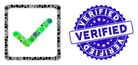 Collage checkbox icon and corroded stamp watermark with Verified caption. Mosaic vector is composed with checkbox icon and with scattered round spots. Verified stamp seal uses blue color, Illustration