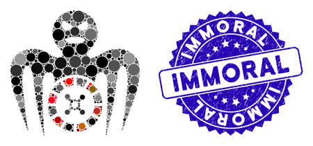 Mosaic roulette spectre monster icon and distressed stamp seal with Immoral phrase. Mosaic vector is formed from roulette spectre monster icon and with scattered round spots.
