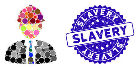 Mosaic engineer icon and grunge stamp seal with Slavery text. Mosaic vector is formed with engineer icon and with randomized spheric items. Slavery stamp seal uses blue color, and grunge design.