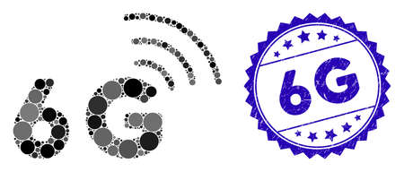Mosaic 6G icon and corroded stamp seal with 6G phrase. Mosaic vector is composed with 6G icon and with scattered circle items. 6G stamp seal uses blue color, and scratched design. Ilustração