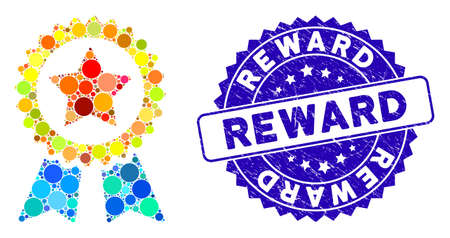 Collage reward seal icon and grunge stamp seal with Reward caption. Mosaic vector is composed with reward seal icon and with randomized circle spots. Reward stamp seal uses blue color,